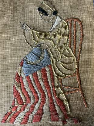 Vintage Embroidery of Woman Sewing Flag