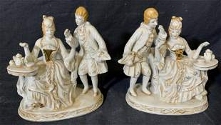 Pair French Rococo Style Porcelain Figurines