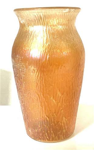 Vintage Orange Carnival Glass Vase