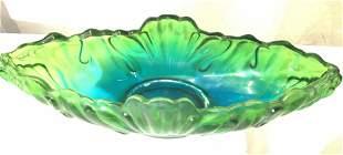 Retro Green Carnival Glass Centerpiece Bowl