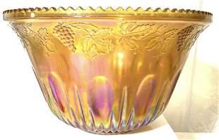 Saw Tooth Centerpiece Orange Carnival Glass Bowl