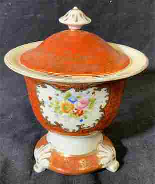 Porcelain Lidded Pedestal Pot