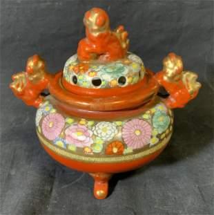 Japanese Porcelain Incense Lidded Bowl