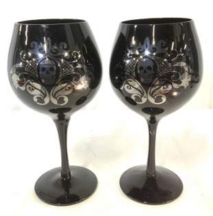 Pair Black Crystal Stemware With Art Nouveau Skull