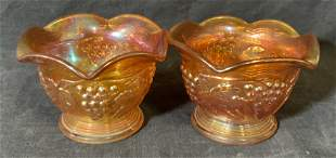 Pair Orange Carnival Glass Dishes