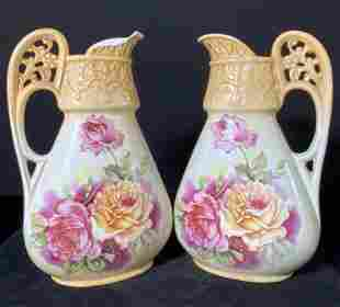 Pair Vintage Porcelain Floral Motif Pitchers
