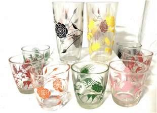 Set 11 Retro Colored Stencil Glass Tumblers