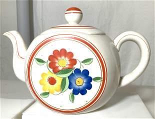Vintage Ceramic Lidded Teapot w Flowers, Japan