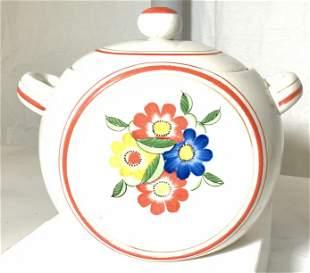 Vintage Ceramic Lidded Cookie Jar w Flowers, Japan
