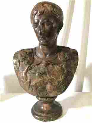 Intricately Carved Male Bust Sculpture