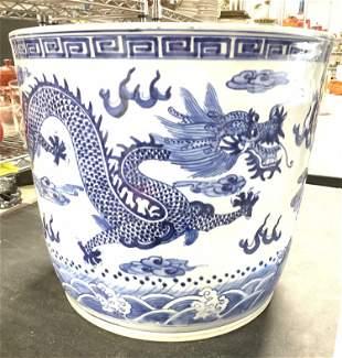 Oversized Asian Stoneware Floor Planter w Dragon