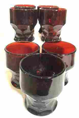 Set 28 Mid Century Modern Thick Ruby Glassware