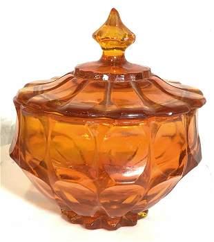 Mid Century Modern Thick Orange Glass Lidded Bowl