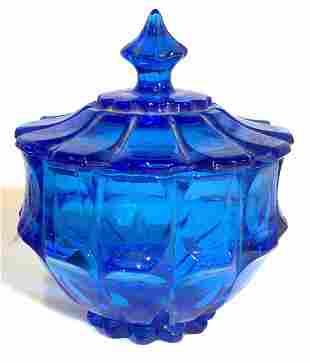 Mid Century Modern Thick Blue Lidded Bowl