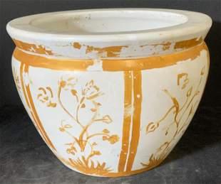Hand Painted White Ceramic Fish Bowl Style Planter