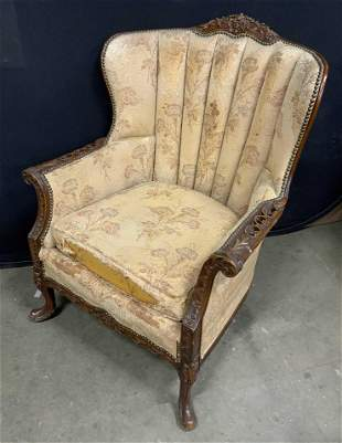 Antique Upholstered Wing Back Arm Chair