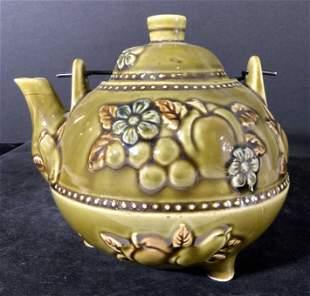 Green Glazed Ceramic Floral Motif Teapot, Lid