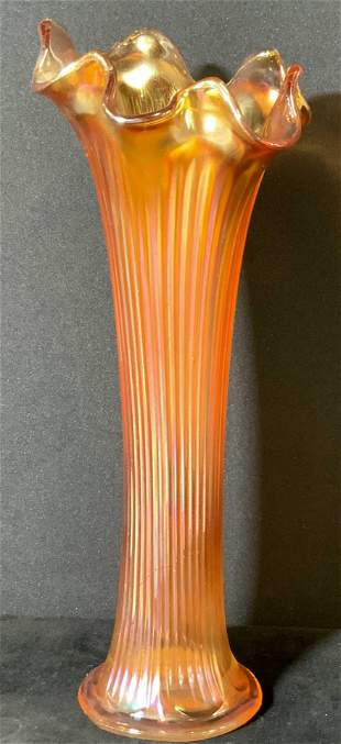 Ruffled Orange Lustrous CARNIVAL GLASS Vase