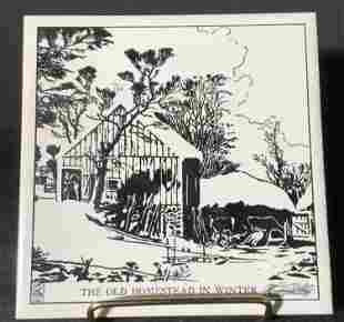 Signed CURRIER & IVES Homestead Ceramic Tile