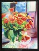 Lot 2 Hand Painted & Signed Still Life Wall Tiles