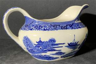 Asian Blue & White Porcelain Gravy Boat, Collect