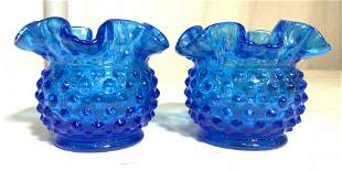 Pair Art Glass Candle Holder