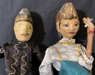 Pair Wayang Golek Indonesian Rod Puppets
