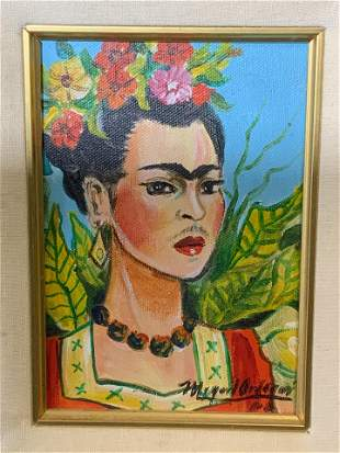 MIGUEL ORDOQUI Signed Oil on Canvas Frida Kahlo