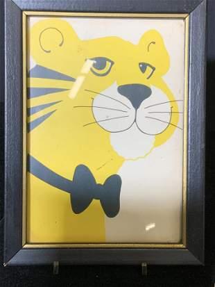 2 Framed Prints, Folk Art Cats