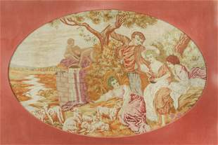 French Rococo Style Needlepoint of Pastoral Party