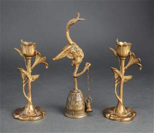 Art Nouveau Style Candle Holders & Bird Bell, 3