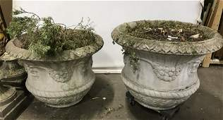 Pair Grand Stone Outdoor Planters