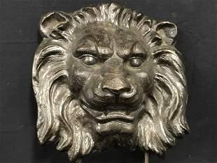 Cast Iron Lion Face Mounted Sculpture