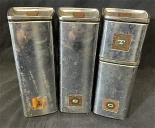 Set 4 Vintage Metal Coffee Canisters
