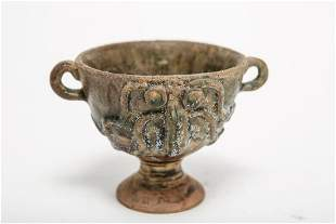 Chinese Double Handle Glazed Ceramic Cup with Face