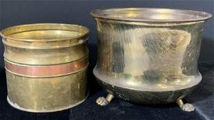 Lot 2 Vintage Tabletop Brass Planters, Jardiniere