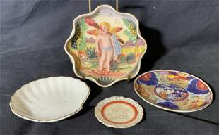 Group Lot 4 Various Painted Porcelain Dishes