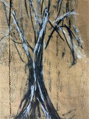 Signed Pastel Drawing of Tree, Artwork
