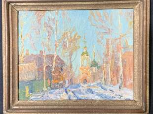 Signed Russian Oil on Board Townscape