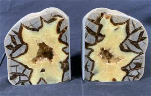 Pair Yellow Geode Bookends