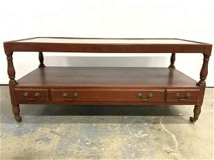 Vintage Wooden Coffee Table On Casters
