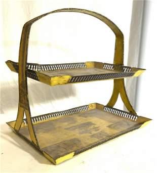 Vintage Metal Toleware 2 Tier Tray