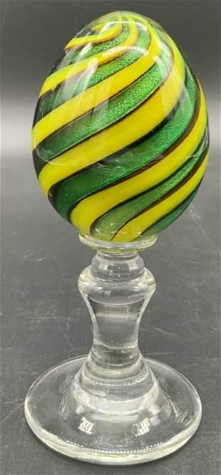 Handmade Art Glass Swirled Egg On Stand