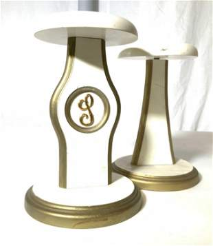 Pair Freestanding Hat and Wig Rack