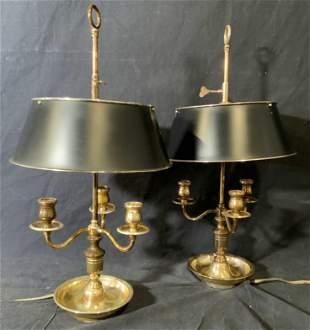 Pair Bouillotte Toleware Bowl Based Lamps