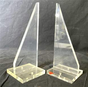 Pair Lucite Bookends W Square Bases