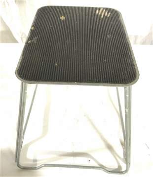 Vintage Metal Step Stool W Rubber Platform