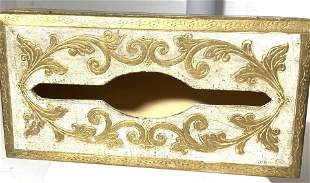 Vintage Gold Leaf Venetian Tissue Box Cover, Italy