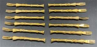 Set 14 Gold Tone Shellfish Forks, Tableware