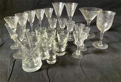 Group 28 Vntg Crystal & Glass Aperitif & Barware